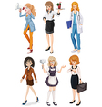 Women with different professions vector image vector image