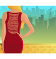 Young woman in red dress from back vector image vector image