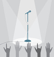 The microphone on the stage under the spotlights vector image