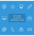 Icon set to use in busienss card vector image