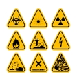 Set of Triangle Yellow Warning Icons vector image