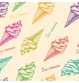 seamless pattern with ice cream hand drawn vector image
