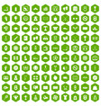 100 basketball icons hexagon green vector image vector image