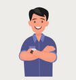 a smiling man with his arms crossed vector image vector image