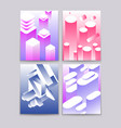 abstract 3d shapes cool gradient isometric shapes vector image vector image