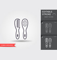 babrush and comb line icon with editable vector image vector image