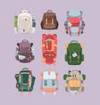 backpacks camping hiking set equipment vector image