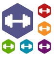 Barbell rhombus icons vector image vector image