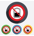Battery half level sign icon No Low electricity vector image vector image