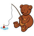 bear on fishing cartoon vector image vector image