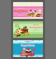 birthday party horizontal invitation postcards vector image vector image