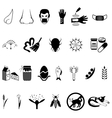 black allergies icons set vector image