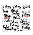Black Friday Lettering with Doodles vector image