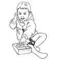 Boy and phone vector image vector image