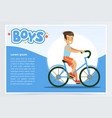 boy cycling on bicycle boys banner for vector image vector image