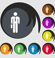 Businessman Icon sign Symbols on eight colored vector image