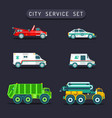 city transport set in flat styletown vector image