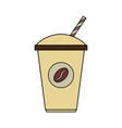 color image cartoon container disposable of coffee vector image vector image