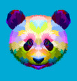 colorful panda head on geometric pop art style vector image vector image