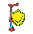 crutch and shield with tick icon cartoon vector image