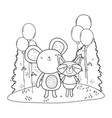 cute and little mouse with raccoon vector image vector image
