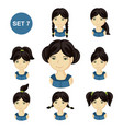 cute little girls with black hair and various hair vector image vector image