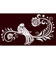 decorative branch with a bird decorative leaves vector image vector image