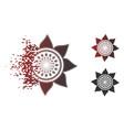 disintegrating pixel halftone sunflower flower vector image