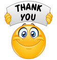emoticon with thank you sign vector image