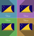 Flags Tokelau Set of colors flat design and long vector image vector image