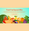 fresh fruit special offer banner with fruits such vector image
