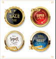 gold and black retro sale badges and labels vector image vector image