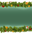 Green Christmas Background with Garland vector image vector image