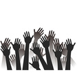 hands raised background vector image vector image