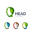 Human head logo design made of color pieces vector image vector image