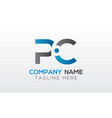 initial pc letter logo with creative modern vector image vector image