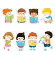 kids reading books for education set vector image