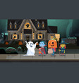 kids wearing monsters costumes walking in town vector image vector image