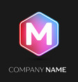 letter m logo symbol in colorful hexagonal vector image vector image