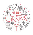 marry christmas line icon holiday lettering banner vector image