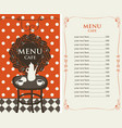 menu for the cafe with price list and served table vector image