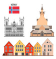 norway set landmark icons vector image