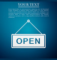 open door sign flat icon on blue background vector image vector image