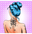 pop art pin-up girl with tattoo vector image vector image