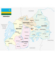 rwanda administrative and political map with flag vector image vector image