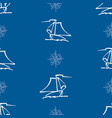 seamless pattern outlines sailing yachts in sea vector image