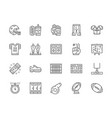 set american football line icons game vector image vector image
