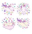 set kawaii cute unicorns sflies and different vector image vector image