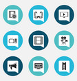 set of 9 editable movie icons includes symbols vector image vector image