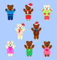 set of bears in clothes on a blue background vector image